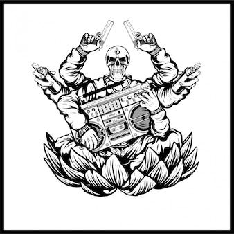 Cráneos de hip hop llevan pistolas y música vectorial.