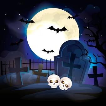 Cráneos en la ilustración de la escena de halloween del cementerio