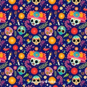 Cráneos con sombreros florales de patrones sin fisuras