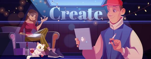 Crea un banner de estilo de dibujos animados con un hombre y una mujer jóvenes en casa
