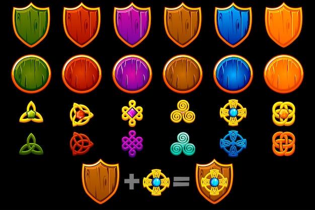 Crea un conjunto de escudo celta. constructor para crear kit diferente, desarrollo de juegos.