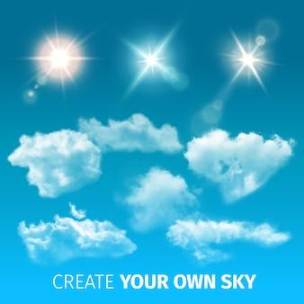 Crea un conjunto de iconos de nubes realistas con nubes aisladas y de colores y rayos de sol