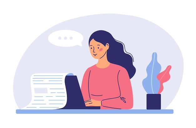 Creación de blogs concepto ilustración creador de medios y escritor independiente de artículos redactor de blogs