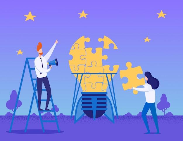 Creación de ideas y trabajo en equipo metáfora plana dibujos animados