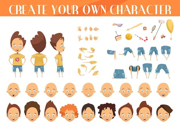 Creación de un personaje de dibujos animados para niños con cortes de cabello, emociones, posiciones de las piernas.