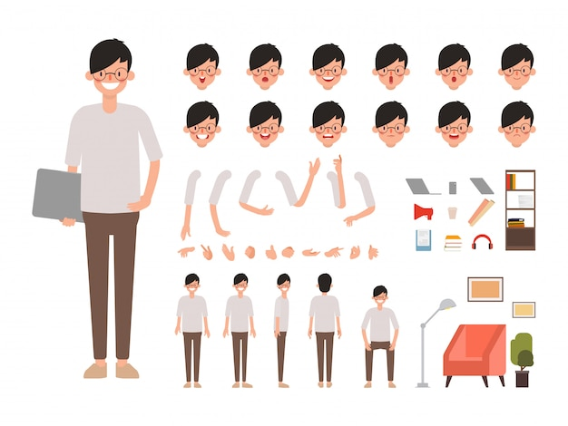 Creación de personajes de personas de diseño animado.
