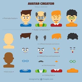 Creador de avatar masculino customizable