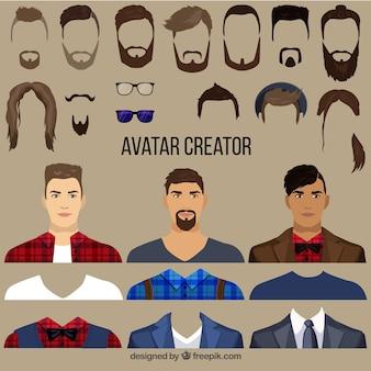 Creador de avatares masculinos planos