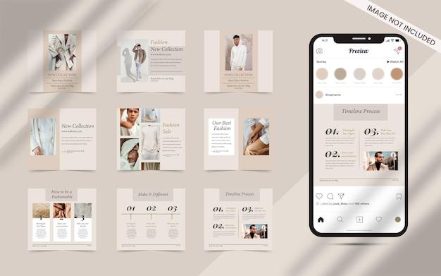 Creador de contenido para publicaciones en redes sociales, conjunto de promoción de banner de venta de moda cuadrada de instagram