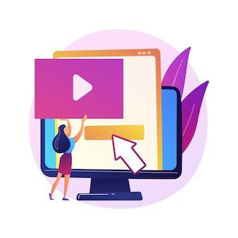 Creador de contenido de video, personaje de dibujos animados colorido blogger. edición, carga, corte de video. disposición de la toma de video, manipulación.