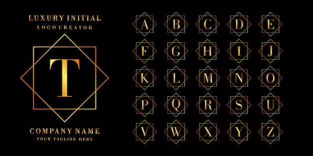 Creador de logotipos: conjunto de letras o diseño de logotipo inicial, color dorado