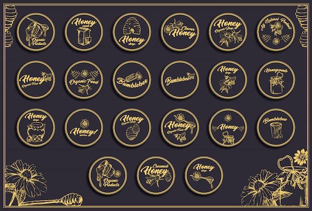 Creamed honey bee concept, diseños de logotipo de boceto para envasado con panales.