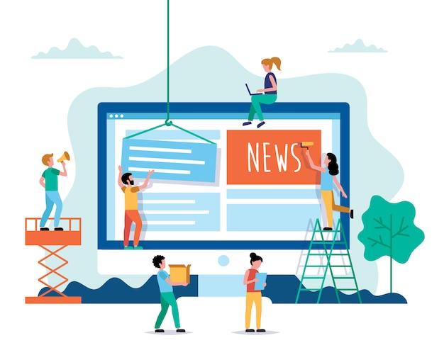 Creando noticias, concepto de noticias de internet en estilo plano.