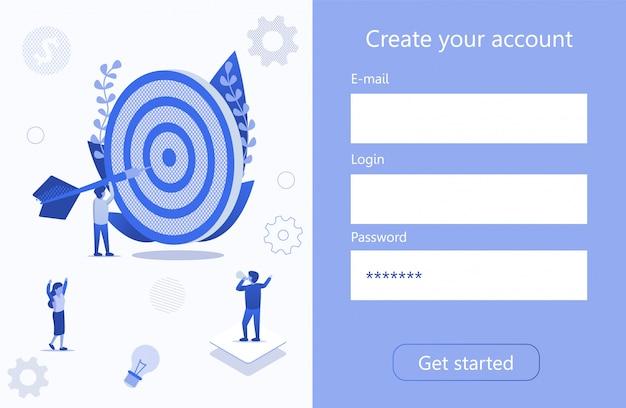 Crear cuenta business target motivation 3d page