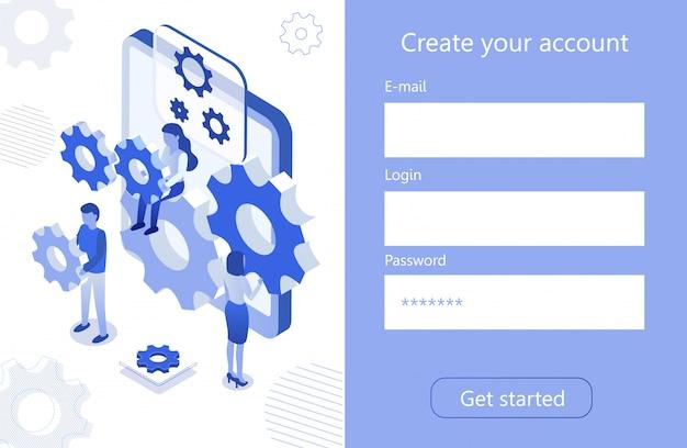 Crear una cuenta para el icono isométrico digital de trabajo en equipo