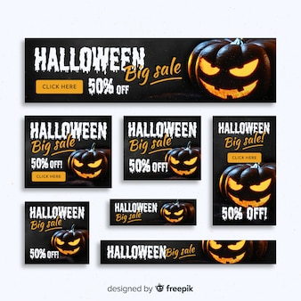 Creativa colección de banners web de rebajas de halloween