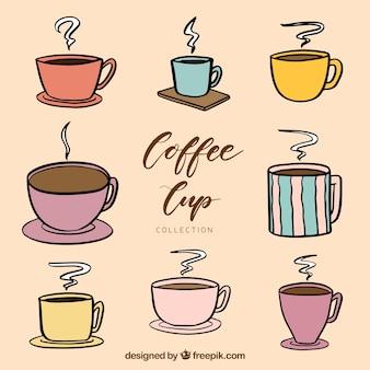 Creativa colección de tazas de café dibujados a mano