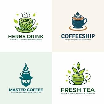 Creativa colección única de logotipos de bebidas.