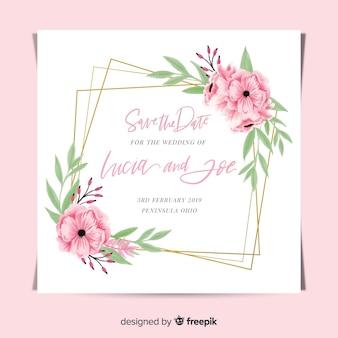 Creativa plantilla de invitación de boda floral con marco dorado