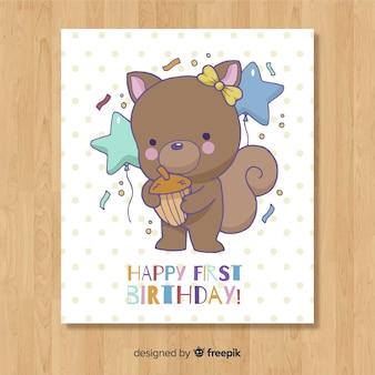 Creativa plantilla de tarjeta del primer cumpleaños