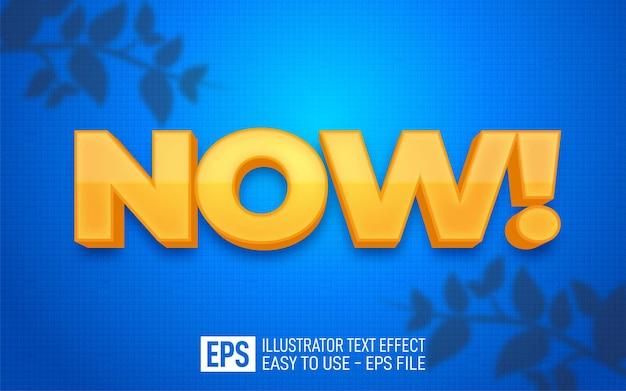 Creative 3d text now, plantilla de efecto de estilo editable