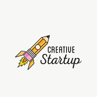 Creative startup rocket abstract logo plantilla o etiqueta, insignia. ilustración aislada
