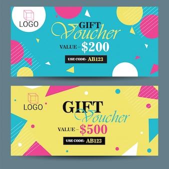 Creative voucher de descuento, tarjeta de regalo o diseño de plantilla de cupón.
