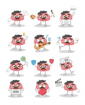 Creatividad cerebral de dibujos animados