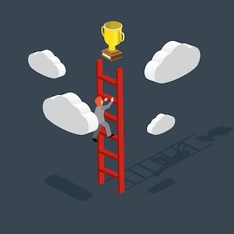 Creatividad empresarial con subir escaleras de ganar