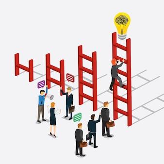 Creatividad empresarial con subir escaleras de idea