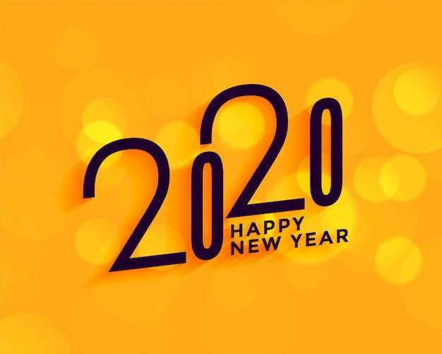 Creativo 2020 feliz año nuevo sobre fondo amarillo