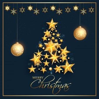Creativo árbol de navidad hecho por estrellas doradas con adornos y copos de nieve en azul para la celebración de la feliz navidad.