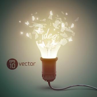 Creativo con bombilla de luz astillada lámpara de resplandor de explosión realista con fragmentos de vidrio e ilustración de cable eléctrico