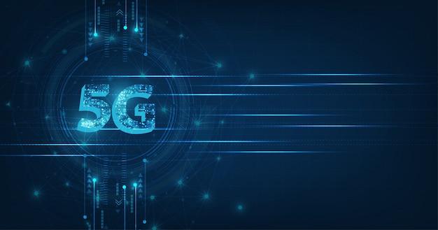 Creativo brillante 5g en banner de color azul oscuro