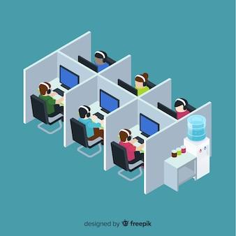 Creativo call center en diseño isométrico