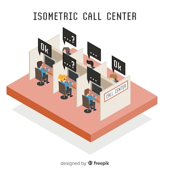 Creativo call center en estilo isométrico