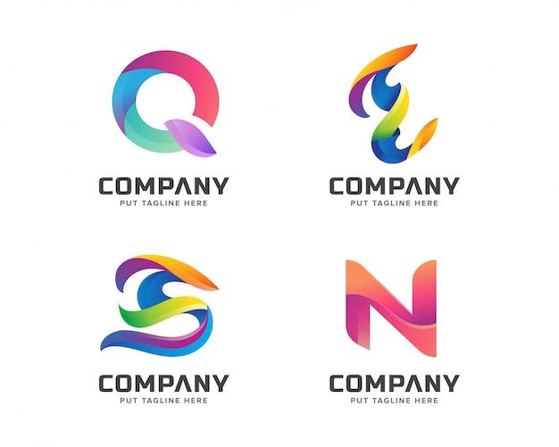 Creativo carta inicial logotipo plantilla conjunto retro vintage