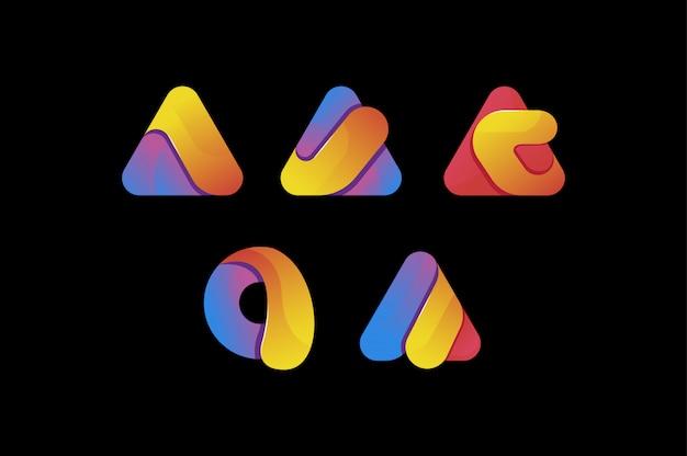Creativo colorido letra un conjunto de logotipo