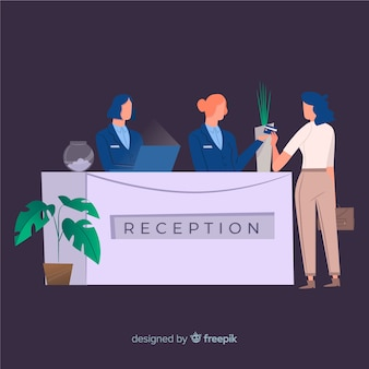Creativo concepto de recepción en diseño flat
