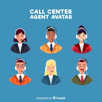 Creativo conjunto de avatares de call center
