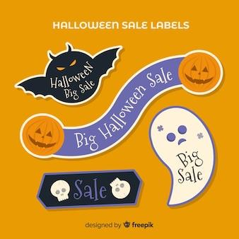 Creativo conjunto de etiquetas de rebajas de halloween