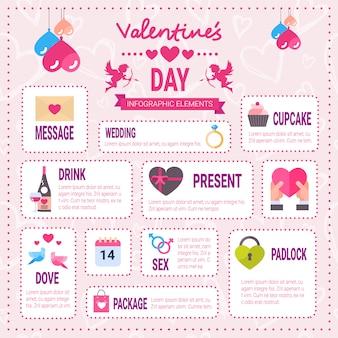 Creativo conjunto de infografía del día de san valentín de iconos de elementos sobre fondo rosa, colección gráfica de información de vacaciones románticas