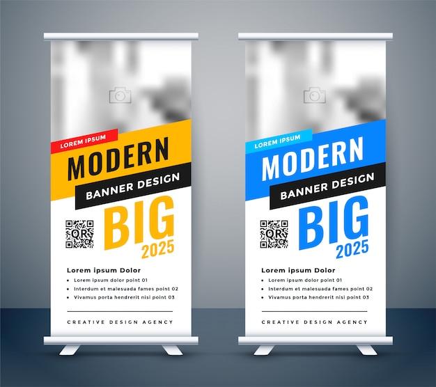 Creativo diseño de banner de rollup standee azul y amarillo