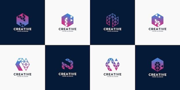 Creativo de diseño de logotipo de tecnología de letras.