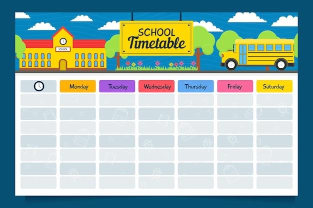 Creativo diseño plano horario de regreso a la escuela