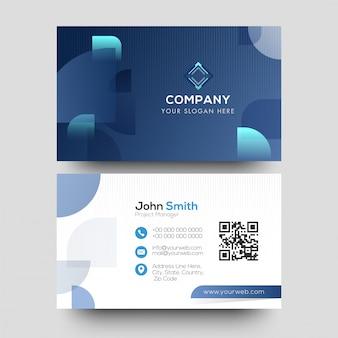 Creativo diseño de tarjeta corporativa en color azul y blanco.
