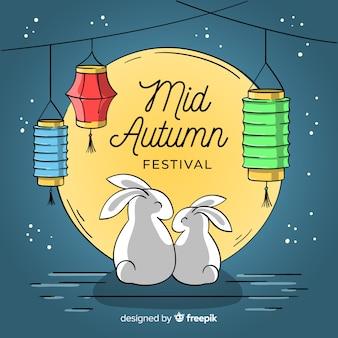 Creativo fondo del festival de medio otoño dibujado a mano