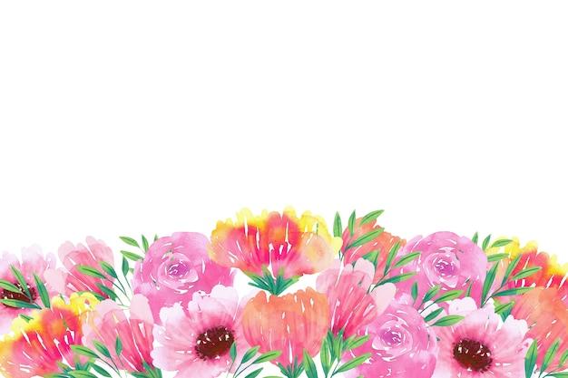 Creativo fondo floral acuarela con espacio en blanco