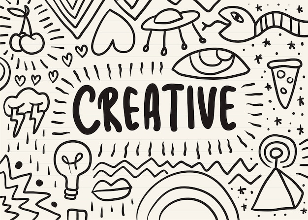 Creativo garabateado en una libreta
