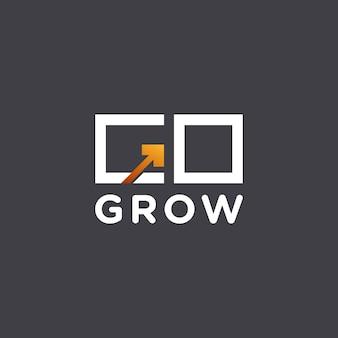Creativo ir a crecer con diseño de logotipo de flecha